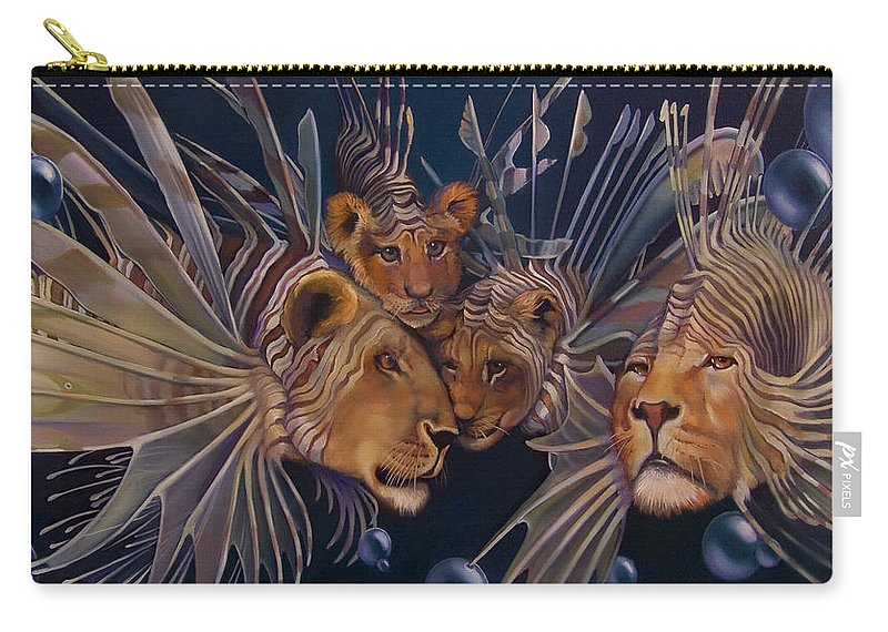 Lion Carry-all Pouch featuring the painting Kindred Lionfish by Patrick Anthony Pierson