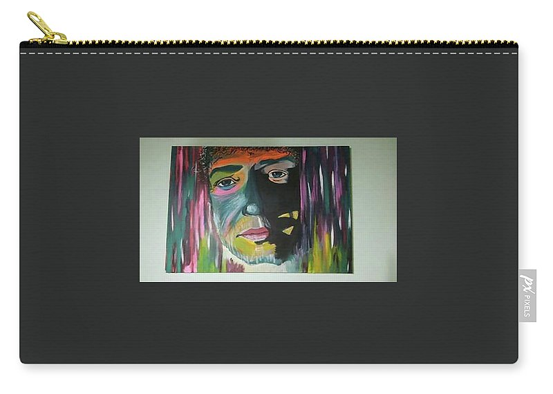 Portrait Abstract Pop Art Music Luxury Carry-all Pouch featuring the painting King Gus by Fran Neuville