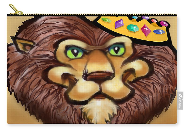 Lion Carry-all Pouch featuring the digital art King by Kevin Middleton