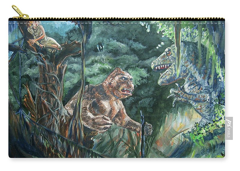 King Kong Carry-all Pouch featuring the painting King Kong Vs T-rex by Bryan Bustard