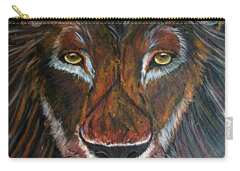 Lion Carry-all Pouch featuring the painting King by Nick Gustafson
