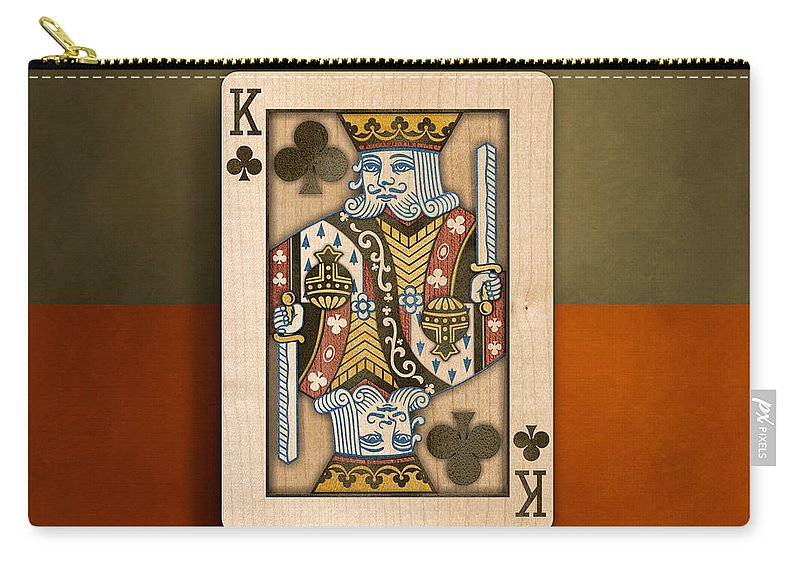 Game Carry-all Pouch featuring the photograph King Of Clubs In Wood by YoPedro