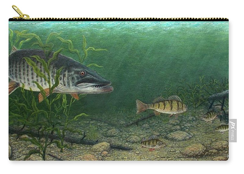 Fish Carry-all Pouch featuring the painting King Of The Cove by Michael Winston