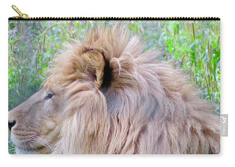 King Carry-all Pouch featuring the photograph King Of The Jungle Profile by Kenneth Summers