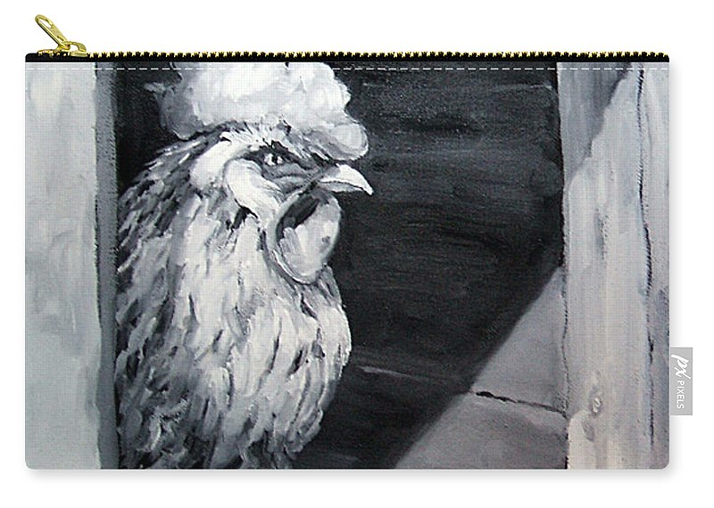 Animal Carry-all Pouch featuring the painting King Of The Roost by Diane Kraudelt