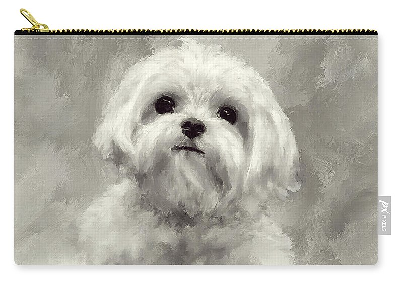 Maltese Carry-all Pouch featuring the digital art King Of The World by Lois Bryan