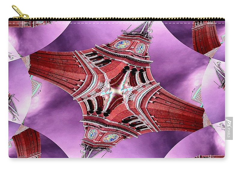 Seattle Carry-all Pouch featuring the digital art King Street Station In Fractal by Tim Allen