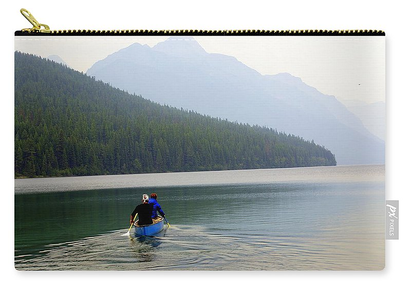 Mountains Carry-all Pouch featuring the photograph Kintla Lake Paddlers by Marty Koch