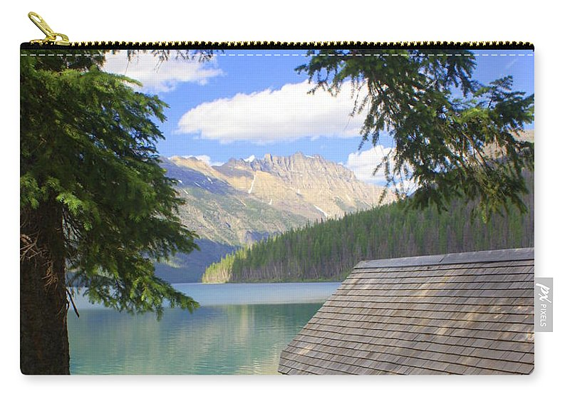 Glacier National Park Carry-all Pouch featuring the photograph Kintla Lake Ranger Station Glacier National Park by Marty Koch