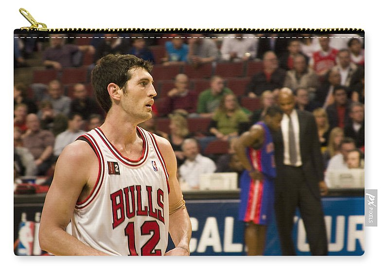 Chicago Windy City Bulls Basketball Nba Kirk Hinrich 12 Game United Center Home Carry-all Pouch featuring the photograph Kirk Hinrich by Andrei Shliakhau