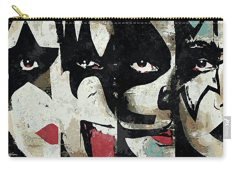 Art Carry-all Pouch featuring the digital art Kiss Art Print by Geek N Rock