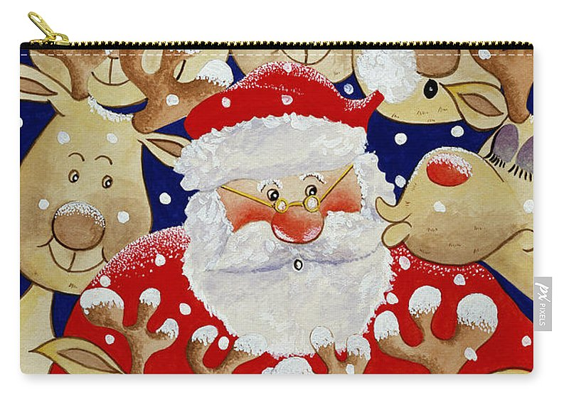 Reindeer; Father Christmas; Rudolf;snow Carry-all Pouch featuring the painting Kiss For Santa by Tony Todd