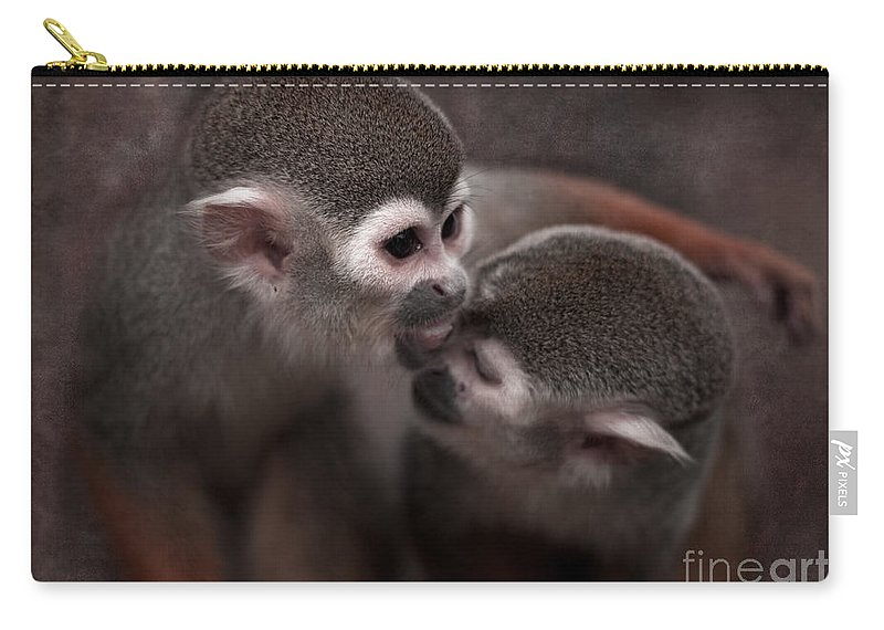 Monkeys Carry-all Pouch featuring the photograph Kiss Me by Angel Ciesniarska