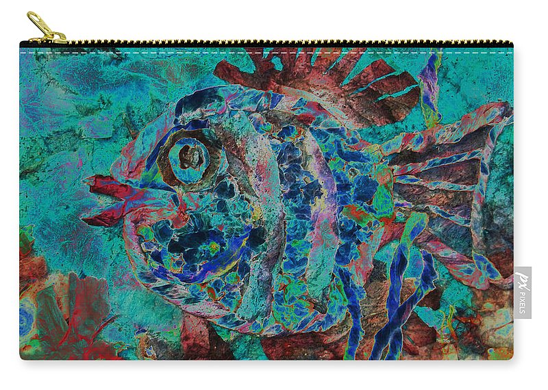 Fish Carry-all Pouch featuring the mixed media Kiss Me by Sue Duda