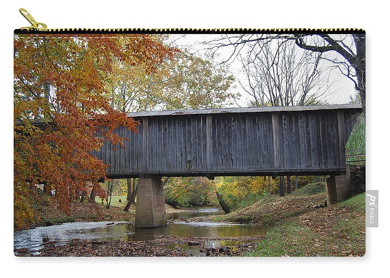 Landscape Carry-all Pouch featuring the photograph Kissing Bridge At Fall by Eric Liller