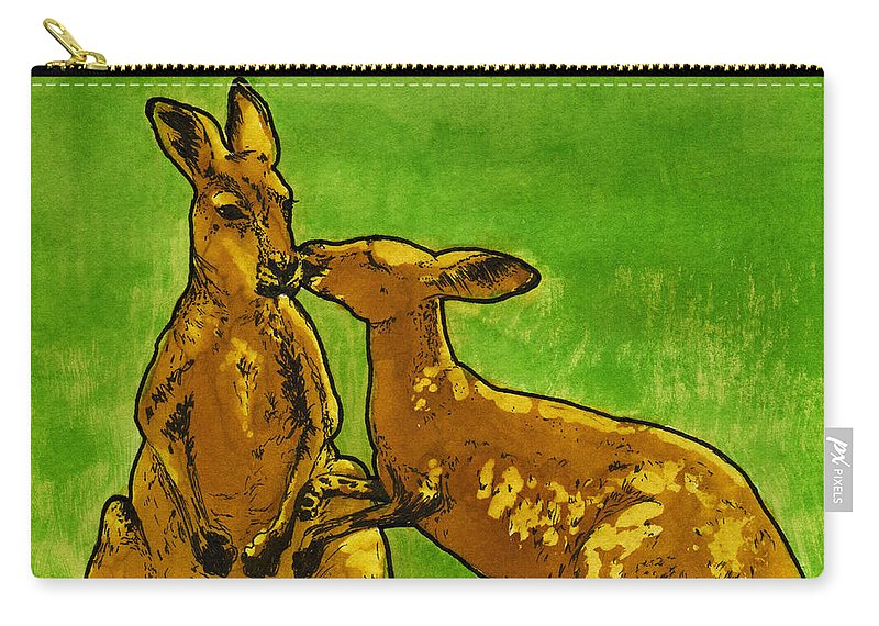 Ink Carry-all Pouch featuring the painting Kissing Kangaroos Print by Cherie Taylor