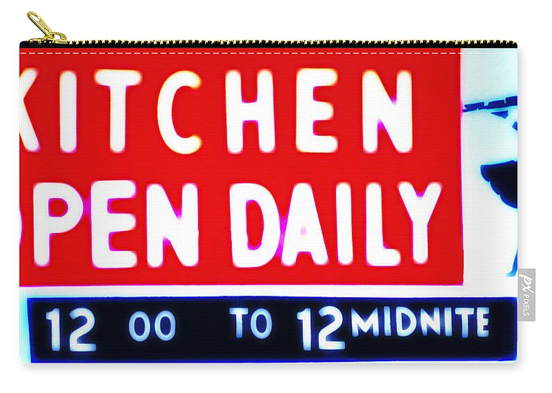 Kitchen Carry-all Pouch featuring the photograph Kitchen Open Daily by Bill Cannon