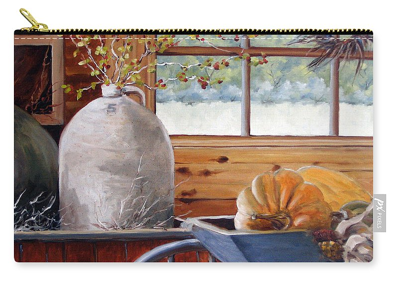 Kitchen Carry-all Pouch featuring the painting Kitchen Scene by Richard T Pranke