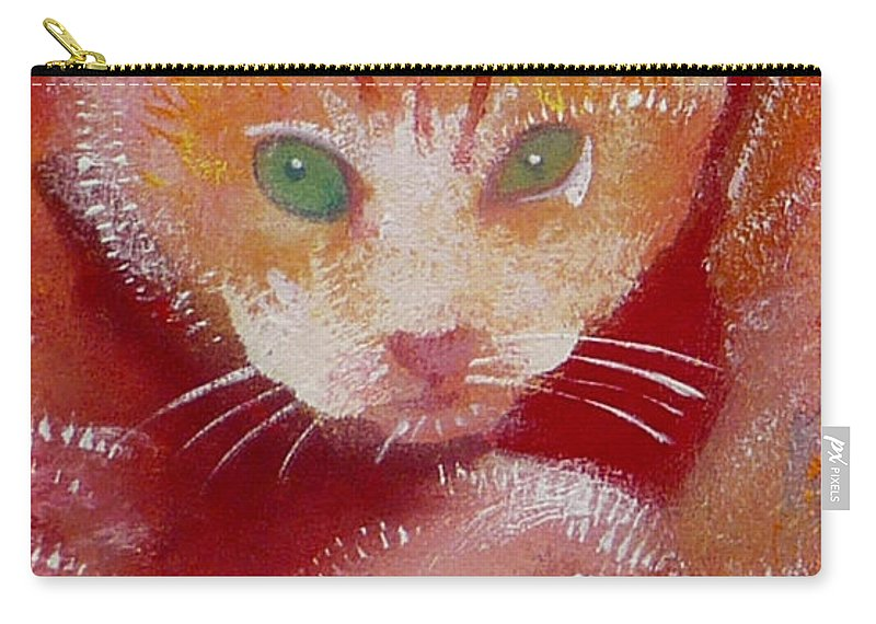 Kittens Carry-all Pouch featuring the painting Kitten by Charles Stuart