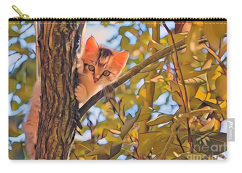 Animal Carry-all Pouch featuring the photograph Kitten In Tree by Tarisa Smith