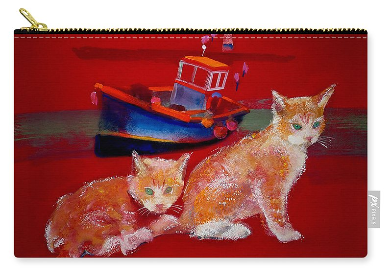 Kittens Carry-all Pouch featuring the painting Kittens On The Beach by Charles Stuart