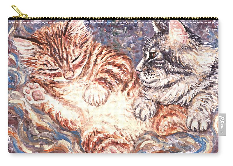 Kittens Carry-all Pouch featuring the painting Kittens Sleeping by Linda Mears