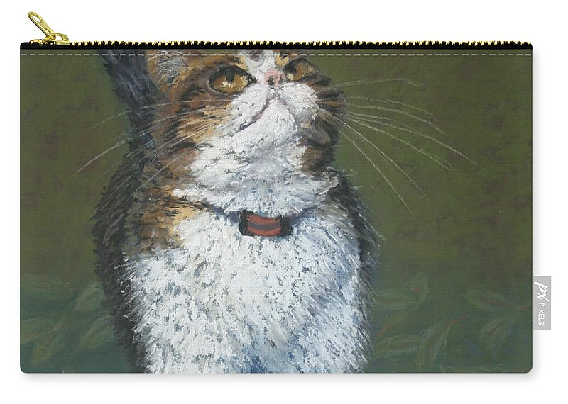 Cat Carry-all Pouch featuring the painting Kitty And Her Dragonfly by Minaz Jantz