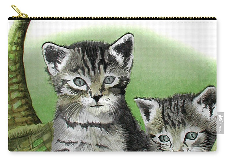 Cat Carry-all Pouch featuring the painting Kitty Caddy by Ferrel Cordle