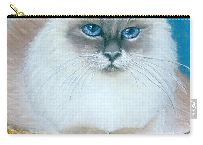 Cat Carry-all Pouch featuring the painting Kitty Coiffure by Minaz Jantz