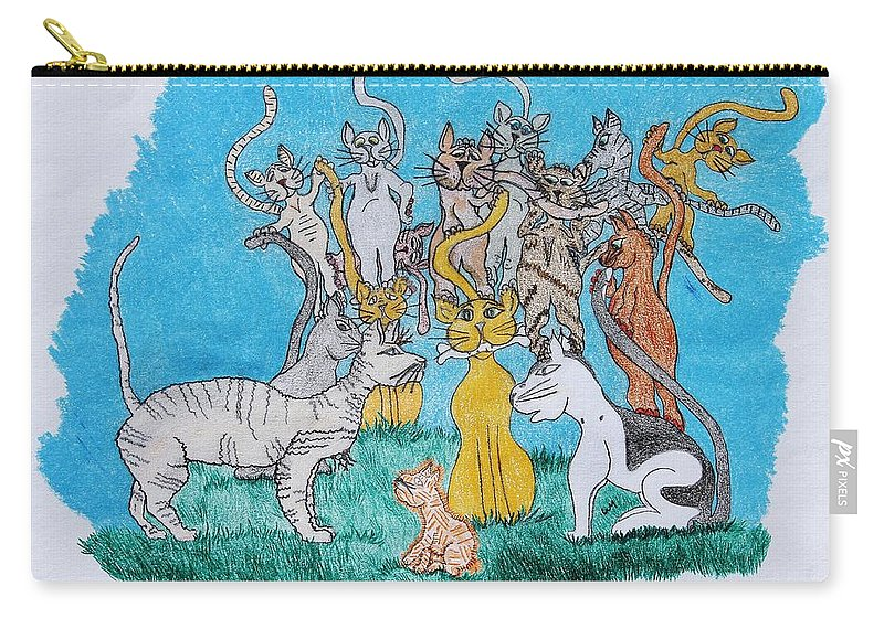 Cartoon Carry-all Pouch featuring the drawing Kitty Confusion by Wanda Gancarz