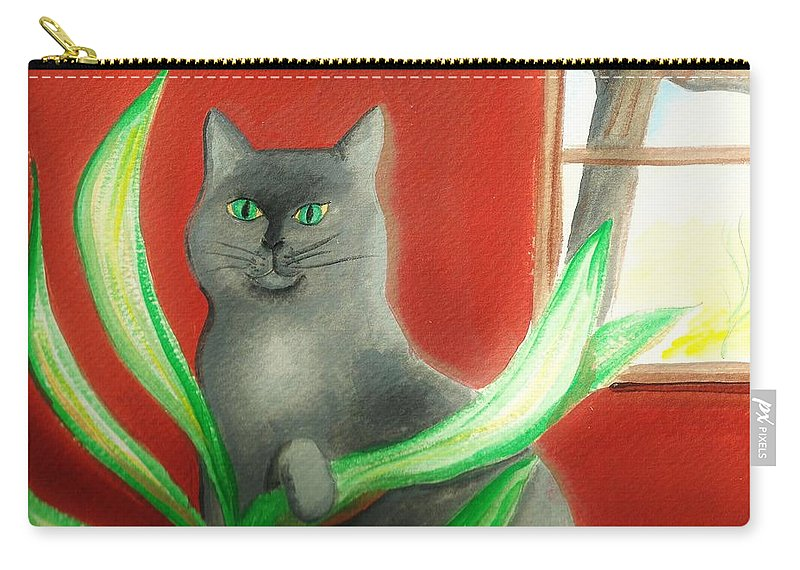 Cat Carry-all Pouch featuring the painting Kitty In The Plants by Denise Fulmer
