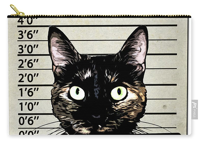 Cat Carry-all Pouch featuring the mixed media Kitty Mugshot by Nicklas Gustafsson