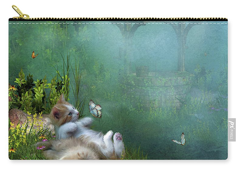 Kittens Carry-all Pouch featuring the mixed media Kitty Wishes by Carol Cavalaris