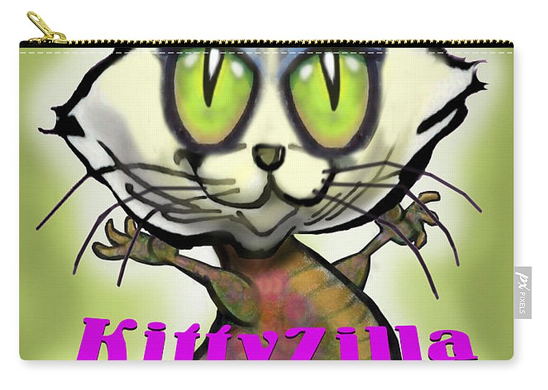 Kittyzilla Carry-all Pouch featuring the greeting card Kittyzilla by Kevin Middleton