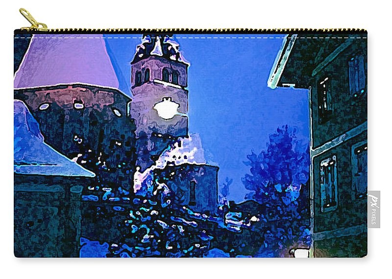 Kitzbuhl Austria After Dark Night Light Lights Church Churches Place Places Of Worship Build Buildings Structure Structures Architecture Digital Art City Cities Cityscape Cityscapes Snow Winter Snowscape Snowscapes Carry-all Pouch featuring the photograph Kitzbuhl At Night-4 by Bob Phillips