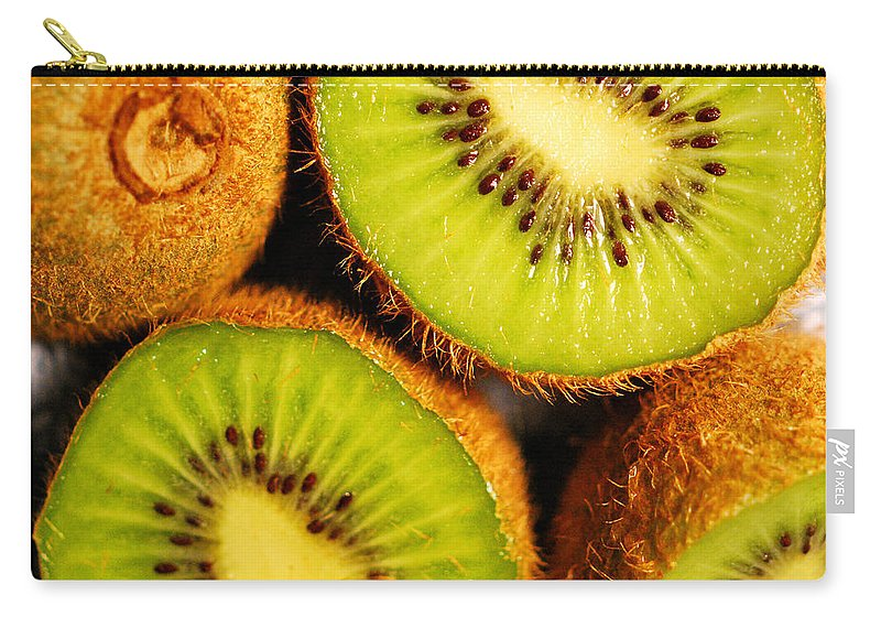 Kiwi Carry-all Pouch featuring the photograph Kiwi Fruit by Nancy Mueller