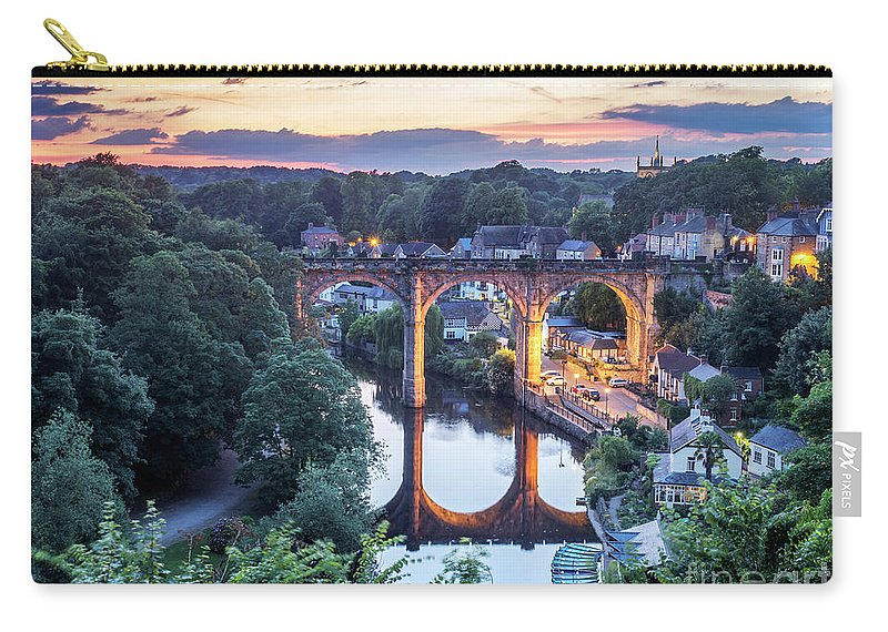 Britain Carry-all Pouch featuring the photograph Knaresborough Viaduct Floodlit At Dusk by Mark Sunderland
