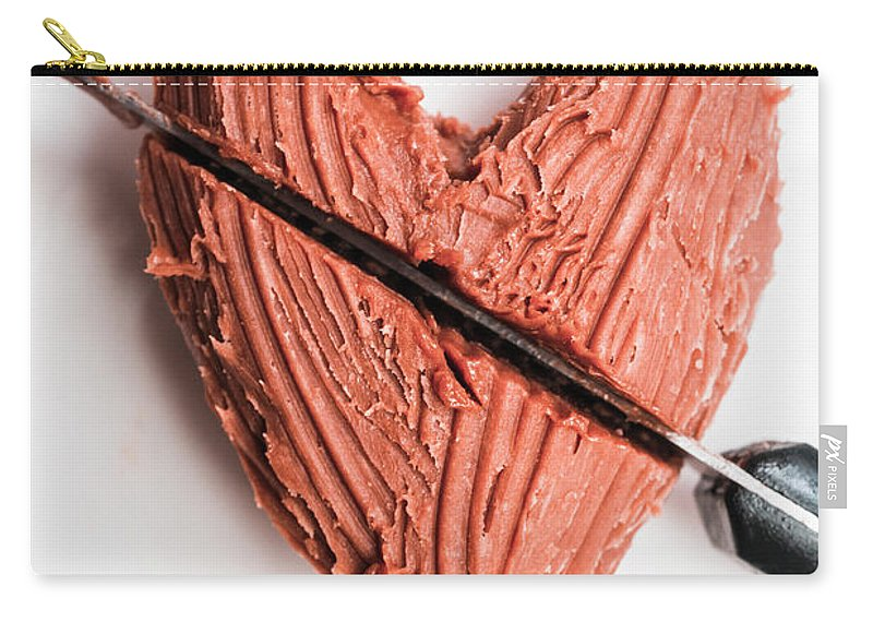 Food Carry-all Pouch featuring the photograph Knife Cutting Heart Shape Chocolate On Plate by Jorgo Photography - Wall Art Gallery
