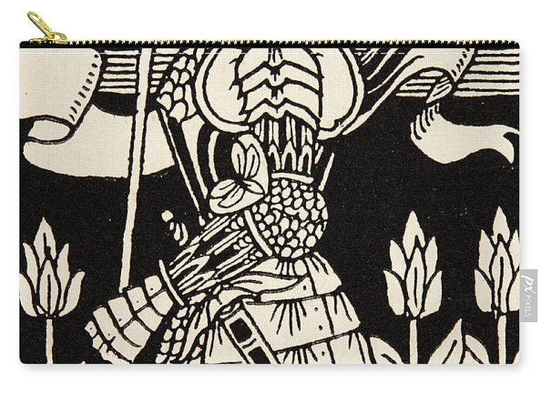 Aubrey Beardsley Carry-all Pouch featuring the drawing Knight Of Arthur, Preparing To Go Into Battle, Illustration From Le Morte D'arthur By Thomas Malory by Aubrey Beardsley