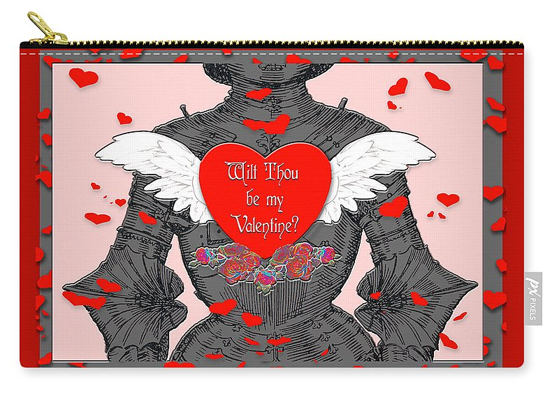 Valentines Day Card Carry-all Pouch featuring the digital art Knight Valentine by Melissa A Benson