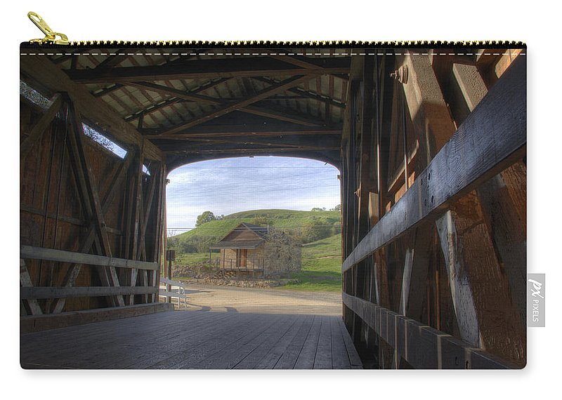 Knights Ferry Carry-all Pouch featuring the photograph Knights Ferry Covered Bridge by Jim And Emily Bush