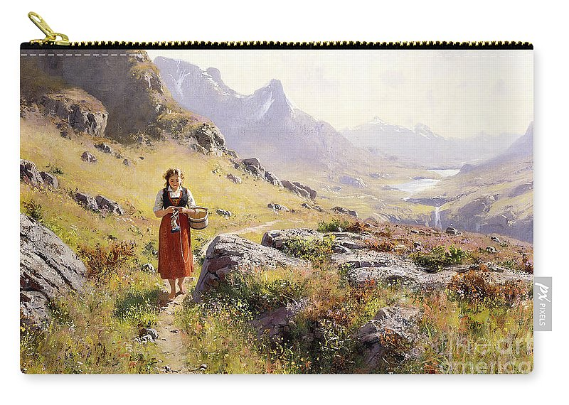 Scandinavian Carry-all Pouch featuring the painting Knitting In A Norwegian Landscape by Hans Dahl