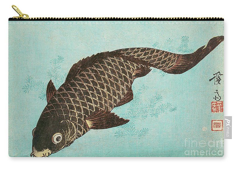 Carp Carry-all Pouch featuring the painting Koi by Keisai Eisen