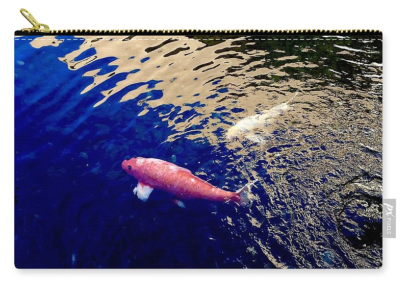 Koi Fish Pond Lake Water Nature Blue Gold Animals Colors Carry-all Pouch featuring the photograph Koi On Blue And Gold by Russell Keating