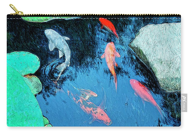 Koi Carry-all Pouch featuring the painting Koi Pond 1 by Dominic Piperata