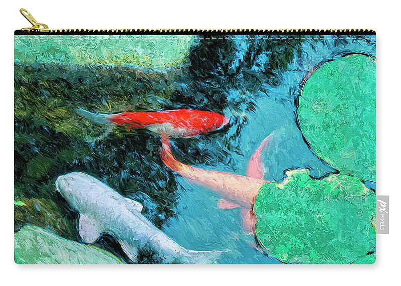 Koi Carry-all Pouch featuring the painting Koi Pond 4 by Dominic Piperata