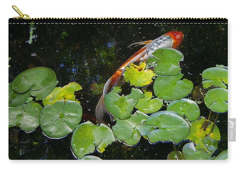 Koi With Lily Pads. Carry-all Pouch featuring the photograph Koi With Lily Pads A by Phyllis Spoor
