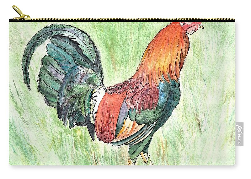 Roosters Carry-all Pouch featuring the painting Kokee Rooster by Marionette Taboniar