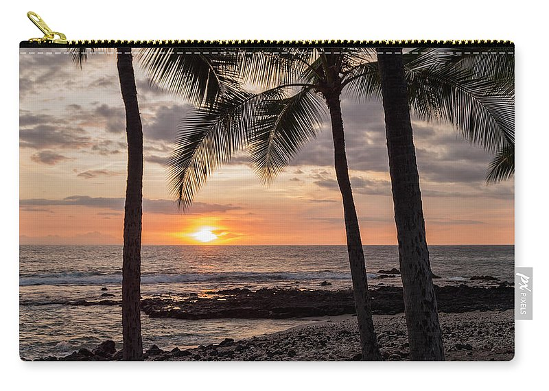 Kona Big Island Hawaii Beach Ocean Sunset Carry-all Pouch featuring the photograph Kona Sunset by Brian Harig
