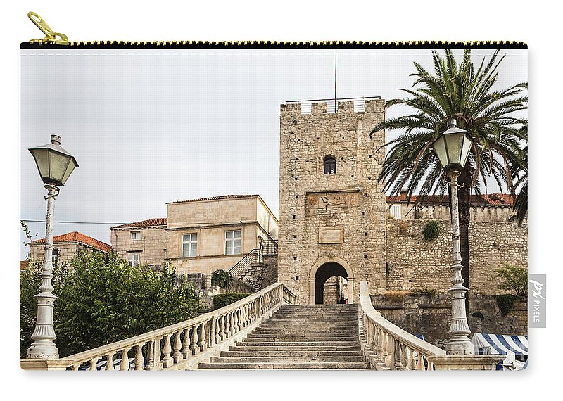 Ancient Carry-all Pouch featuring the photograph Korcula Old Town Stairs by Didier Marti
